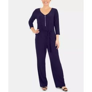 Flared Leg Jumpsuit Zipper Self Tie Sash Blue